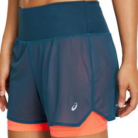 "asics Ventilate 2-N-1 3,5"" Shorts Dames, blauw/oranje"